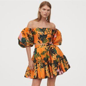 H&M Puff-sleeved Poplin Blouse & Flared Skirt NWT